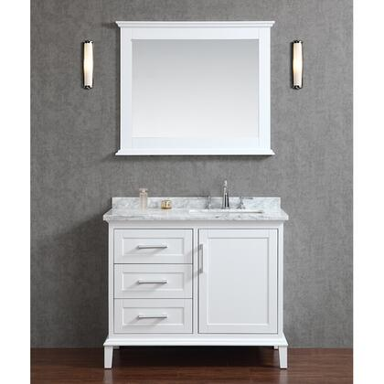 SCNAN42SWH Seacliff by ARIEL Nantucket 42 inch  Single Sink Vanity Set with Marble Top  Tapered Legs  and Molding Detail in