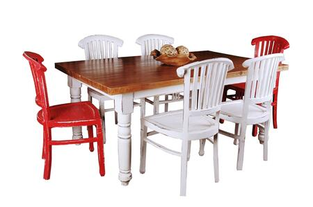 Shabby Chic Cottage Collection CC-TAB1139SO4TLD-WWSV-7PC 7-Piece Dining Room Set with Dining Table 4 White Side Chairs and 2 Red Side