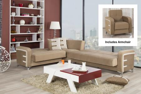 Decora Desecacgbn Sectional And Armchair With Matching Pillows  Tapered Polished Metal Feet And Button Detailing In Golf
