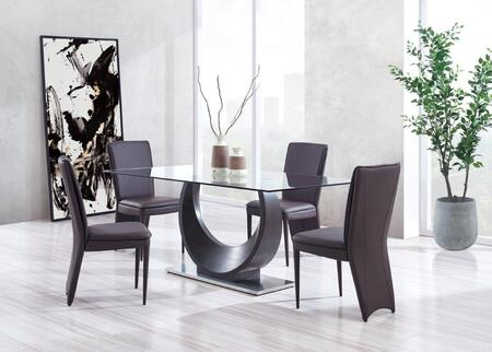 D2185DT4D6605DC-BROWN 5-Piece Dining Room Set with Dining Table and 4 Dining Chairs in Wenge and