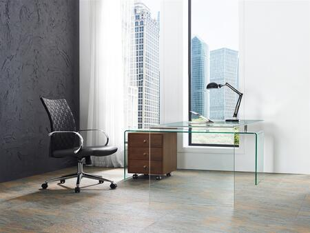 Rio Collection CB1109WALDESKCSET 2 PC Office Furniture with Walnut Veneer Office Desk and Eco-Leather/Woven Polyester Upholstered