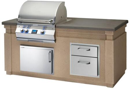 Aurora Outdoor Kitchen Island Package with A430I6E1N Natural Gas Digital Thermometer Grill  53802 Double Drawer  33914SL Left Hinge Horizontal Access Door and