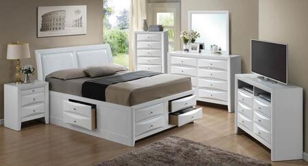 G1570iksb4set 6 Pc Bedroom Set With King Size Storage Bed + Dresser + Mirror + Chest + Nightstand + Media Chest In White