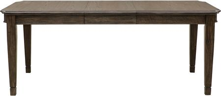 S024135 60-78 inch  Hamilton Rectangular Leg Dining Table with Oak Veneers and Hardwood Solids  One 18 inch  Leaf  Tapered Legs and Distressed Detailing in