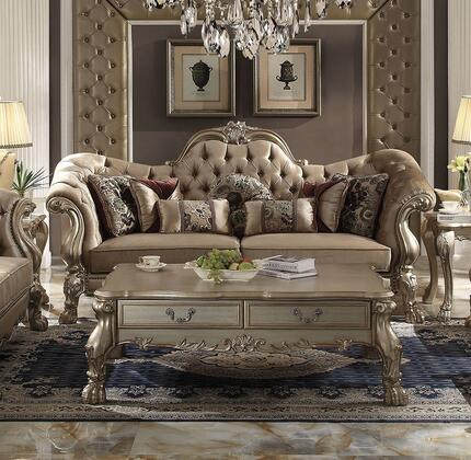 Dresden Collection 52090SCT 2 PC Living Room Set with Sofa + Coffee Table in Gold Patina