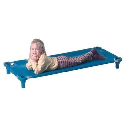 550T-TA Toddler Cot Unassembled in Blue with Tan Legs Blue Fabric Color  Leg Color -