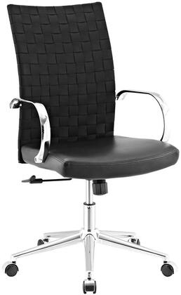 Verge Collection EEI-2858-BLK Office Chair with Adjustable Height  Chrome-Plated Aluminum Base  Swivel Function  Stretchable Polyester Weave Back and Vinyl