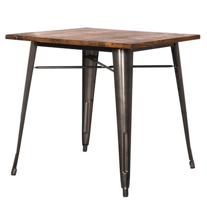 Metropolis Collection 9300020-GM Metal Dining Table with Pine Wood Top  Rubber Feet and Powder Coated Steel Base in