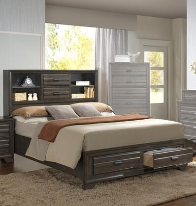 Eddison Collection King Size Bed with 4 Drawers  Low Profile Footboard  Bookcase Headboard  Brushed Nickel Hardware  Solid Wood and Veneer Materials in Grey