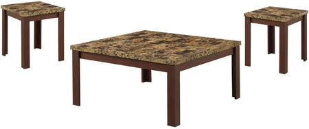 Finely Collection 84565 3 PC Living Room Table Set with Light Brown Faux Marble Top
