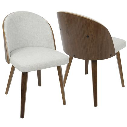 CH-LUNA WL+W2 Luna Contemporary Dining/ Accent Chair in Walnut with White Noise Fabric - Set of