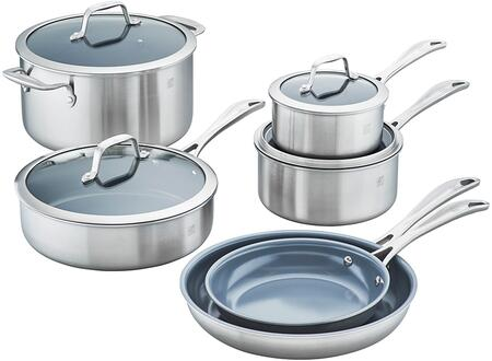 Zwilling 64080-001 Spirit 3-Ply 10-Pc Stainless Steel Ceramic Nonstick Cookware