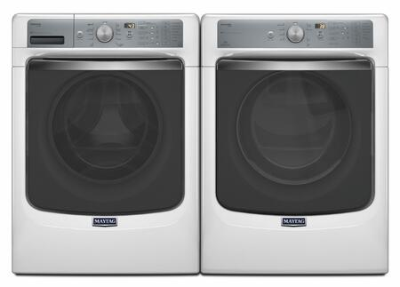 White Front Load Laundry Pair With MHW8150EW 27 inch  Washer and MED8150EW 27 inch  Electric
