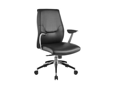 Arena Collection CB-O110-BL Office Chair with Casters  Chrome Frame  Modern Style  Commercial Grade  Adjustable Height  Hydraulic Mechanism and Eco-Leather