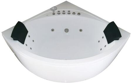 AM200 Rounded Modern Corner Whirlpool Bath Tub with Acrylic  Water Hydro Massage Jet  2 Person Capacity  Back Flow Preventer  Tempered Glass Panel  Ozone