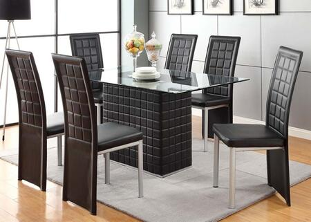 Abbie Collection 70714T6C 7 PC Dining Room Set with Rectangular Shaped Dining Table and 6 Side Chairs in Black