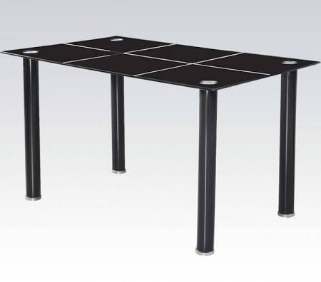 Riggan Collection 70598 55 inch  Dining Table with 10mm Black Tempered Glass Top and Metal Tube Legs in Black