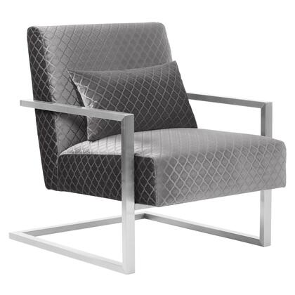 LCSKCHGRAY Skyline Contemporary Accent Chair in Gray Velvet with Polished Silver Steel