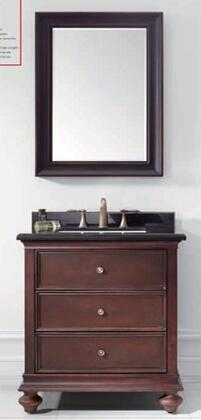 MUV-19716A-C22 30 inch  American Style Bathroom Vanity  Black Marble Countertop  Undercounter White Rectangular Ceramic Basin  Mirror  and Two Storage Drawer