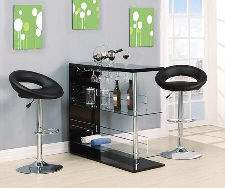 Valdin 71305T2S 3 PC Bar Table Set with Bar Table + 2 Swivel Stools in Black and Chrome