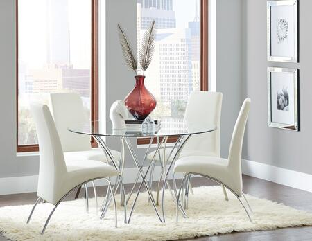 Cabianca Collection 106921DT-4SC-121572 5-Piece Dining Room Set with Round Dining Table and 4 Side Chairs in