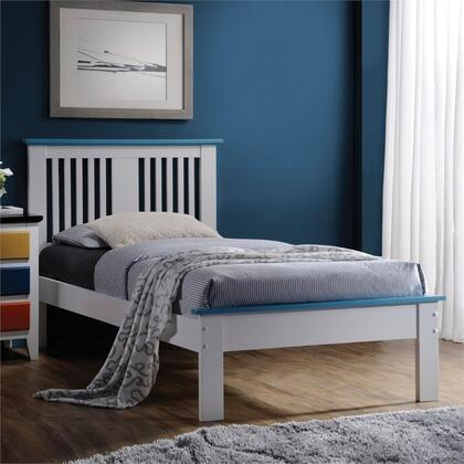 Brooklet Collection 25465T Twin Size Bed with Slatted Panel Headboard  Low Profile Footboard  Contrast Top Trim and Poplar Wood Construction in Blue and White