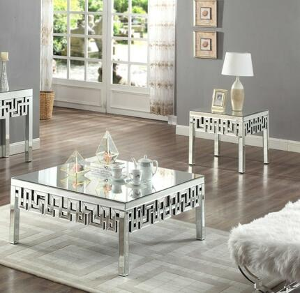 Aria Collection 412CE 2 PC Living Room Table Set wit Coffee Table + End Table in Mirrored