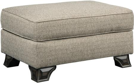 Claremorris Collection 1800314 33 inch  Ottoman with Fabric Upholstery  Piped Stitching Detail and Short Decorative Feet in