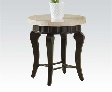 Lorencia 80072 22 inch  End Table with White Marble Top  Diamond Shape Bottom and Metal Tapered Legs in Black