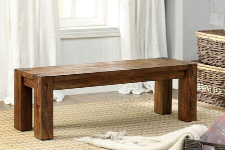 Frontier CM3603BN Bench with Transitional Style  Bold Wood Structure  Wood Block Details  Solid Wood  Wood Veneer and Others in Dark