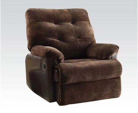 Layce 59180 38 inch  Glider Recliner with Hand Latch Under Armrest  Plush Padded Arms  Tufted Cushions and Fabric Upholstery in Chocolate
