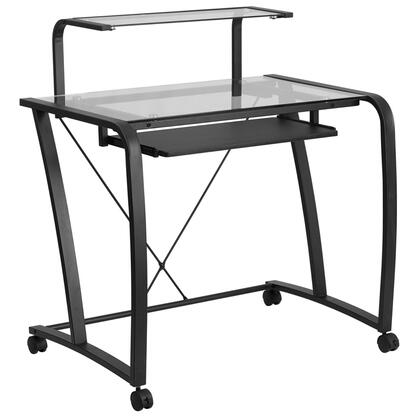 NAN-WK-053-GG Mobile Glass Computer Desk with Pull-Out Keyboard Tray and Monitor