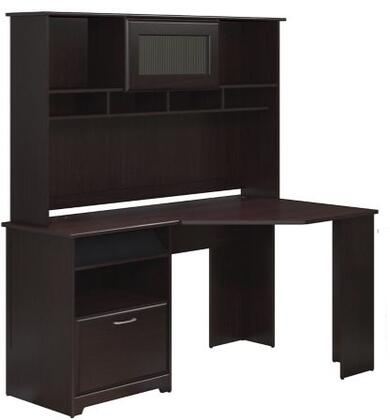 Cabot WC31815-03-31 Corner Desk and Hutch with One Charging Station  Two Drawers and One Filing Cabinet in Espresso