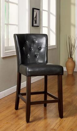 Belleview II Collection CM3871PC-2PK Set of 2 Counter Height Chair with Wide Flared Back  Button Tufted Details and Leatherette Upholstery in Dark