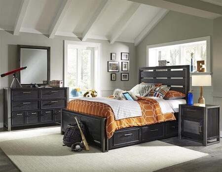 Graphite 8942401530531bdmnd 5 Pc Bedroom Set With Twin Size Bed + Dresser + Mirror + Nightstand + Underbed Storage Drawers In Black