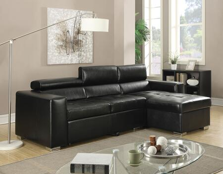 Aidan 51640 105 inch  Sectional Sofa with Left Arm Facing Loveseat  Right Arm Facing Chaise with Storage  Pull-Out Bed  Adjustable Headrest and Bonded Leather Match