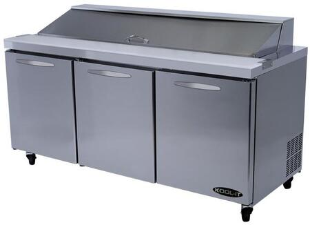KST723 72 inch  Sandwich Prep Table with 19.6 cu. ft. Capacity  3 Doors  3 Shelves  18 Pans  3/8 HP  in Stainless