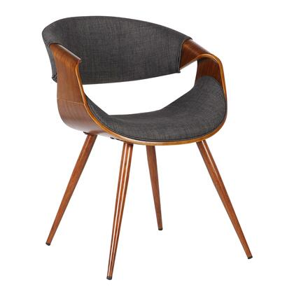 Butterfly Collection LCBUCHWACH Dining Chair with Mid-Century Style  Curved Backrest  Walnut Veneer Wood Frame  Tapered Legs and Polyester Fabric Upholstery in