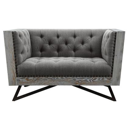 Regis Collection LCRE1GR Contemporary Chair in Grey Fabric with Black Metal Finish Legs and Antique Brown Nailhead