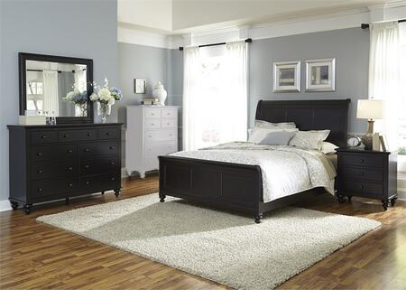 Hamilton III Collection 441-BR-KSLDMN 4-Piece Bedroom Set with King Sleigh Bed  Dresser  Mirror and Night Stand in Black
