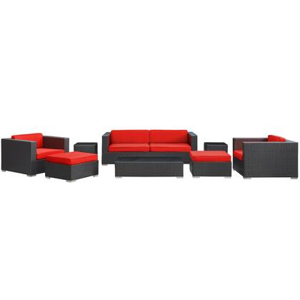 Venice Collection EEI-610-EXP-RED-SET 8-Piece Sofa Set with Coffee Table  Sofa  2 Armchairs  2 Ottomans and 2 Side Tables in Espresso and