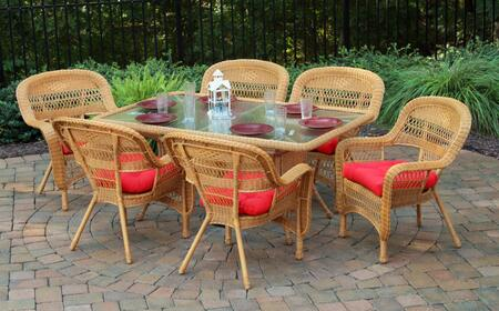 Portside PSD-66-AM SAND 7-Piece Dining Set with Dining Table  6 Chairs  Wicker Construction and Tempered Glass Top in Amber with Sand