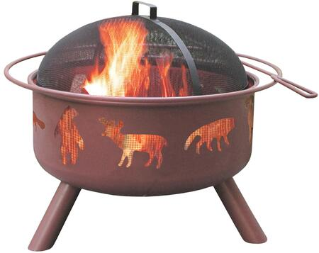 28337 Big Sky Firepits with Wildlife Pattern  12.5 Deep Firebowl  Cooking Grate  Spark Screen and Steel Construction in Georgia Clay
