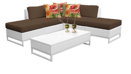 MIAMI-06c-COCOA Miami 6 Piece Outdoor Wicker Patio Furniture Set 06c with 2 Covers: Sail White and