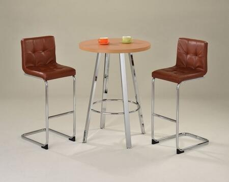 Tertia 71465T2C 3 PC Bar Table Set with Bar Table + 2 Chairs in Beech and Chrome