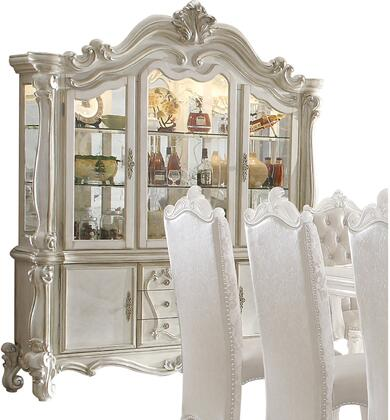 Versailles Collection 61134 75 inch  China Cabinet with 2 Glass Doors  2 Wooden Doors  2 Glass Shelves  3 Drawers  Touch Light and Scrolled Legs in Bone White