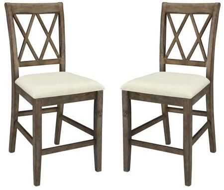 Claudia Collection 71722 Set of 2 26 inch  Counter Height Chairs with Double  inch X inch  Back Design  Beige Linen Fabric Upholstered Cushion  Rubberwood and Veneer