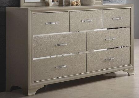 Beaumont 205293 Dresser with Asian Hardwood  Polished Chrome Handles and Felt Lined Top Drawers in Champagne