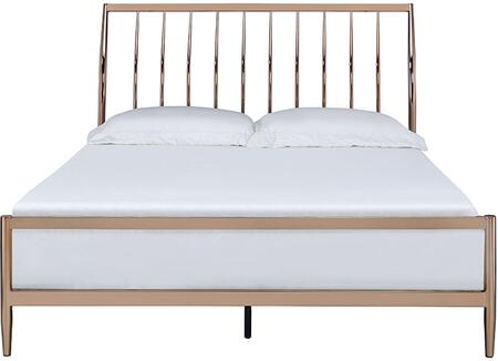 Marianne Collection 22690Q Queen Size Bed with Sleigh Slatted Headboard  Low Profile Footboard  Tapered Legs and Metal Frame Construction in Copper