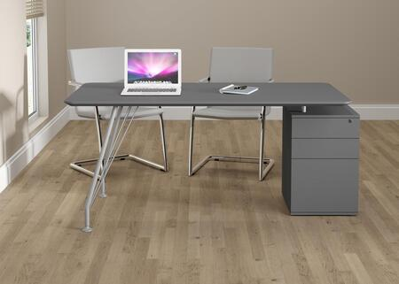 18600GP Grey Steel and Wood Home Office Rectangular Desk with Drawer